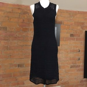 Dark Navy Blue Linen Crochet dress over slip dress